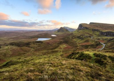 Schotland. The Quiraing op The Isles of Skye met zonsondergang.
